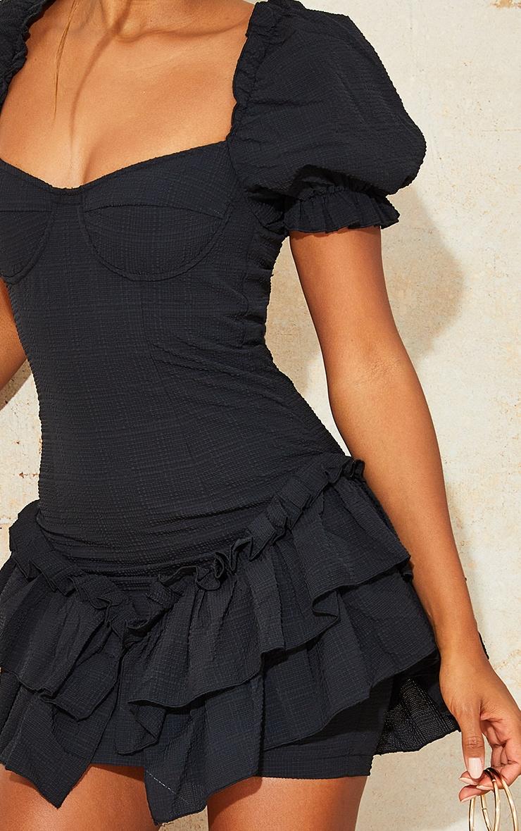 Black Textured Puff Sleeve Frill Skirt Bodycon Dress 4