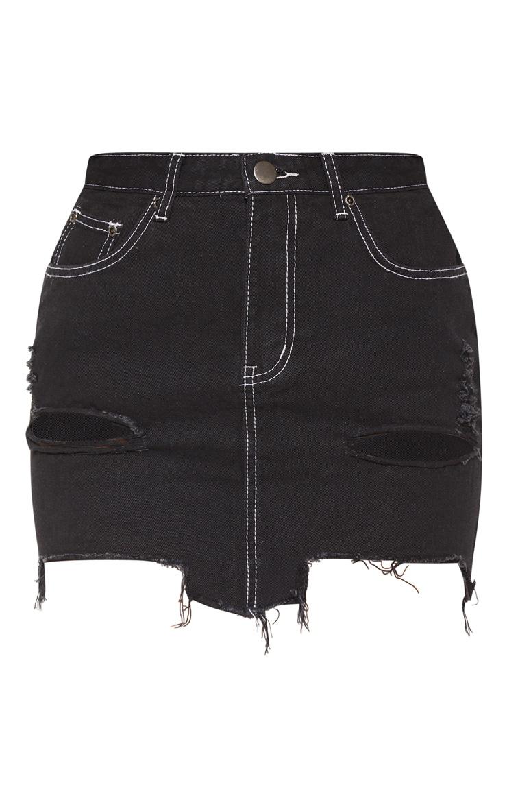 Black Contrast Stitch Distressed Denim Mini Skirt 3