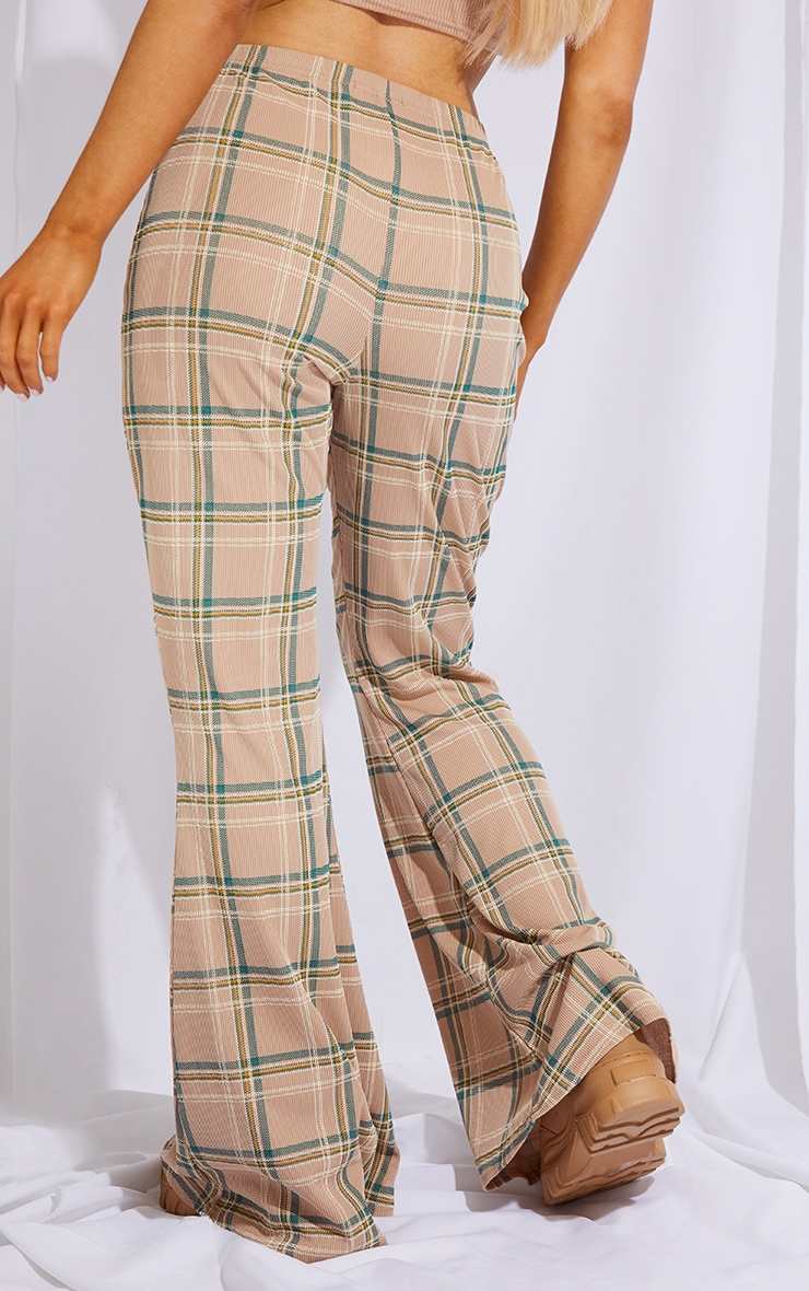 Stone Check Ribbed Flared Pants 3