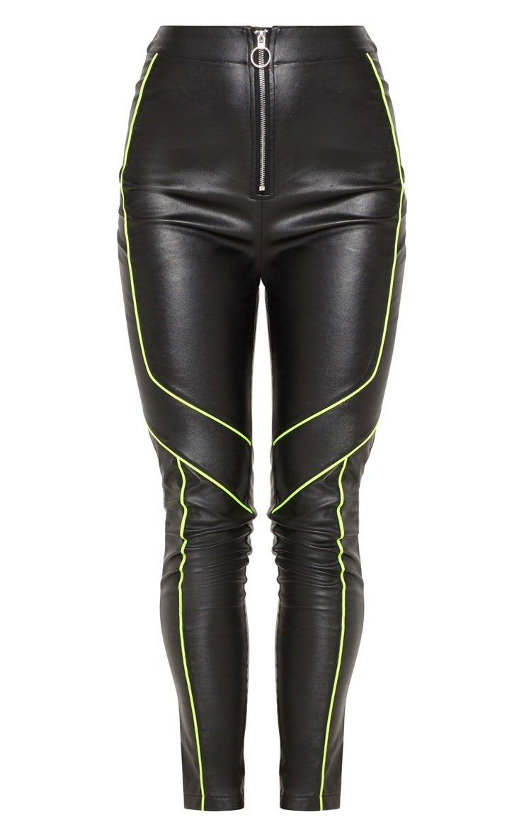 Black Faux Leather Contrast Neon Binding Skinny Trouser 3