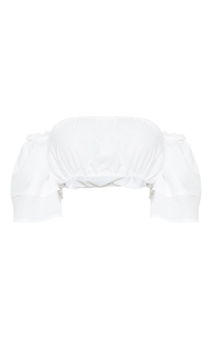 Petite - Top blanc froncé à manches volantées 3