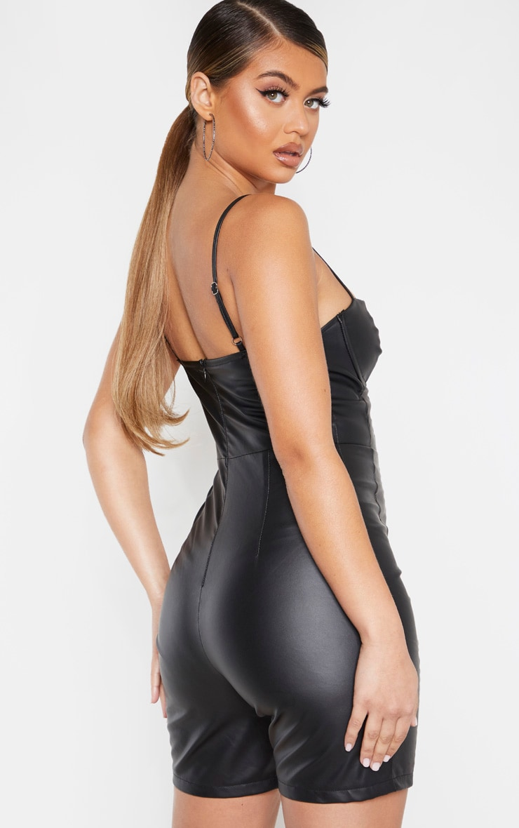 Black PU Cup Detail Strappy Unitard 2