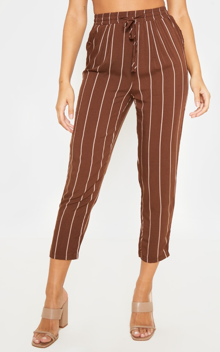 Chocolate Pinstripe Casual Trouser 2