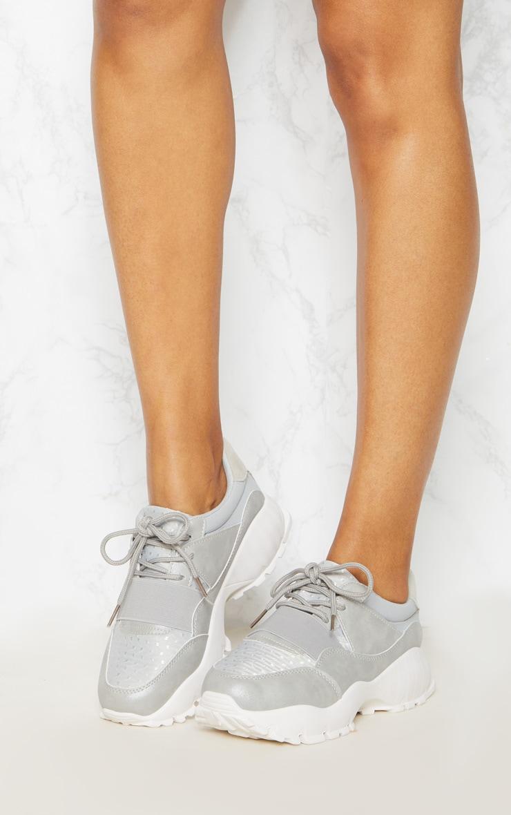 Grey Chunky Elastic Strap Trainer 2