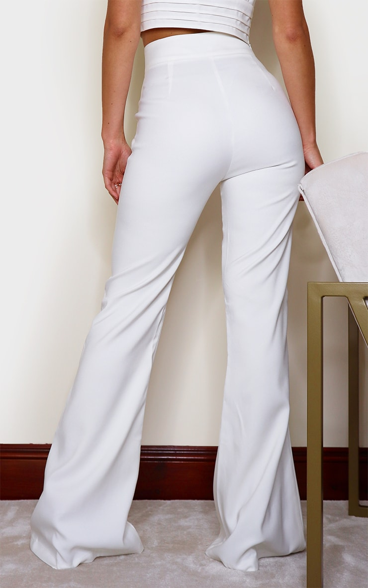 White High Waisted Double Button Waist Flare 3