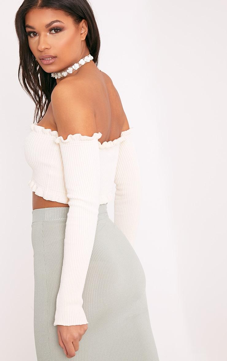 Giani Cream Ruffle Detail Knit Bardot Long Sleeve Top 2