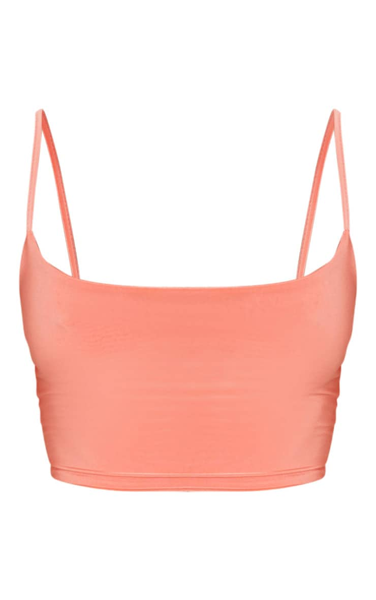 Peach Slinky Strappy Detail Crop Top 3