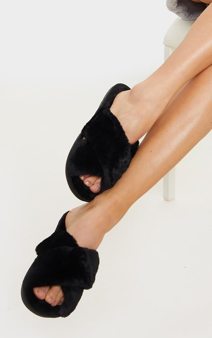 Black Fluffy Cross Strap Slippers 1