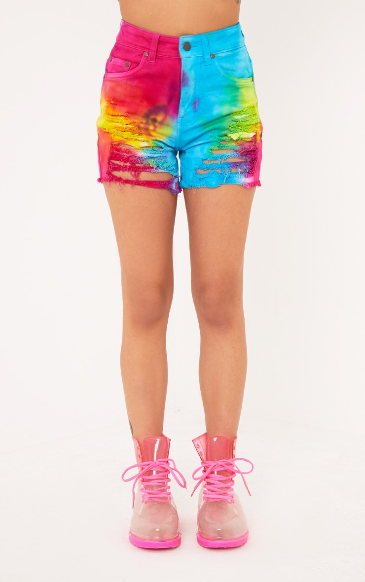Anaiya Multi Tie Dye Distress Denim Short 2