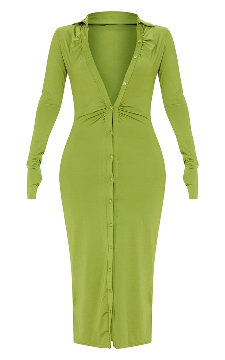 Green Slinky Ruched Button Down Midi Shirt Dress 5