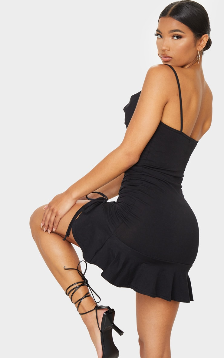 Black Cotton Strappy Cowl Ruched Frill Hem Bodycon Dress 2