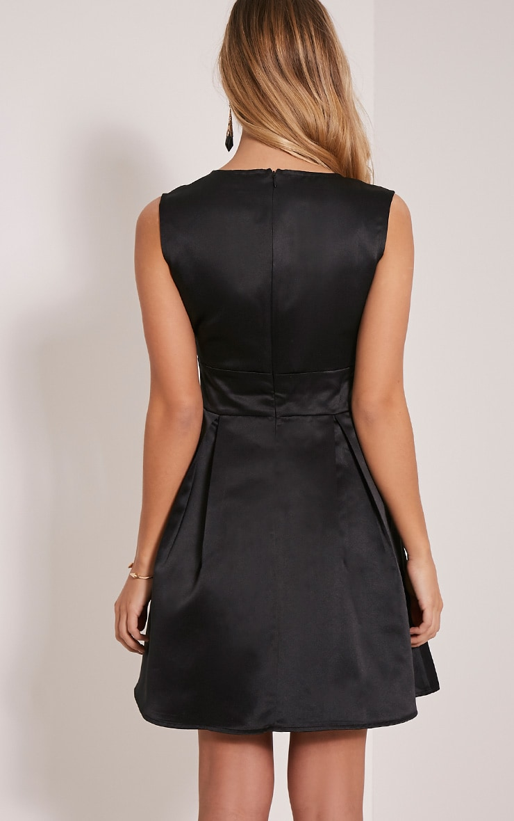 Vienna Black Plunge Satin Skater Dress 2