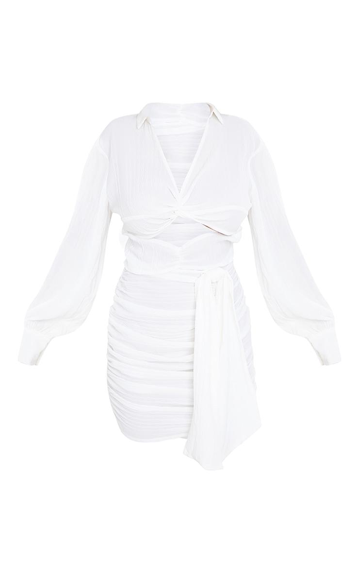 White Textured Twist Bust Drape Detail Shirt Style Midi Dress 5