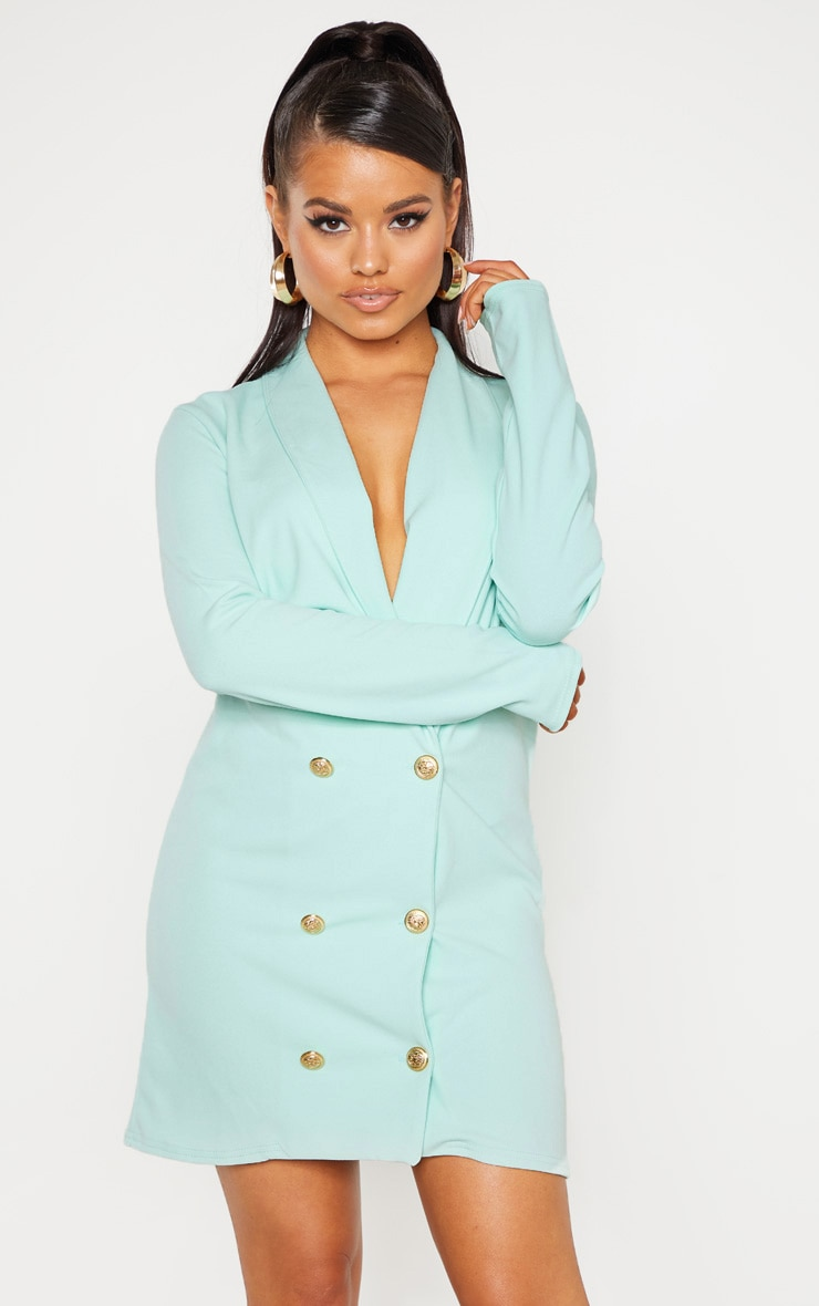 Petite Mint Button Blazer Dress 1