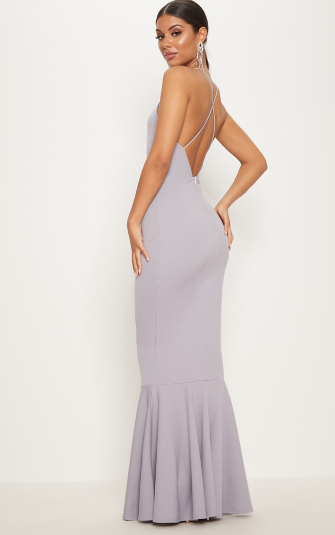 Ice Grey Cross Back Fishtail Maxi Dress 1
