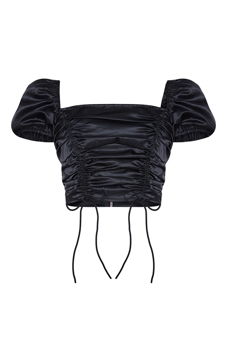 Shape Black Satin Extreme Ruched Puff Sleeve Crop Top 5