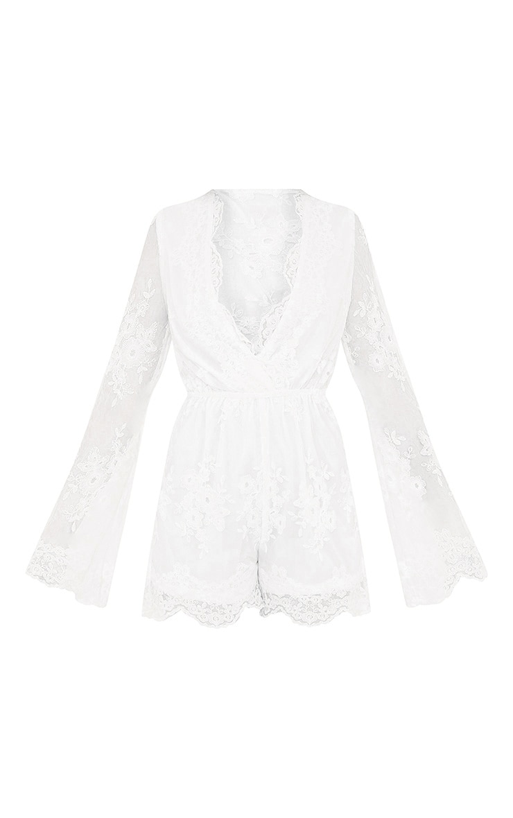 Bella White Lace Bell Sleeve Playsuit  3