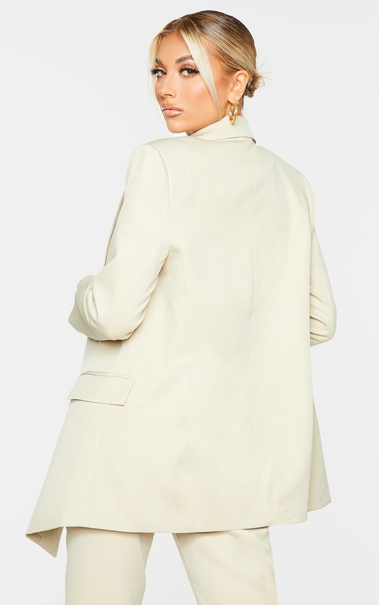 Sage Green Oversized Asymmetric Button Detail Suit Blazer 2