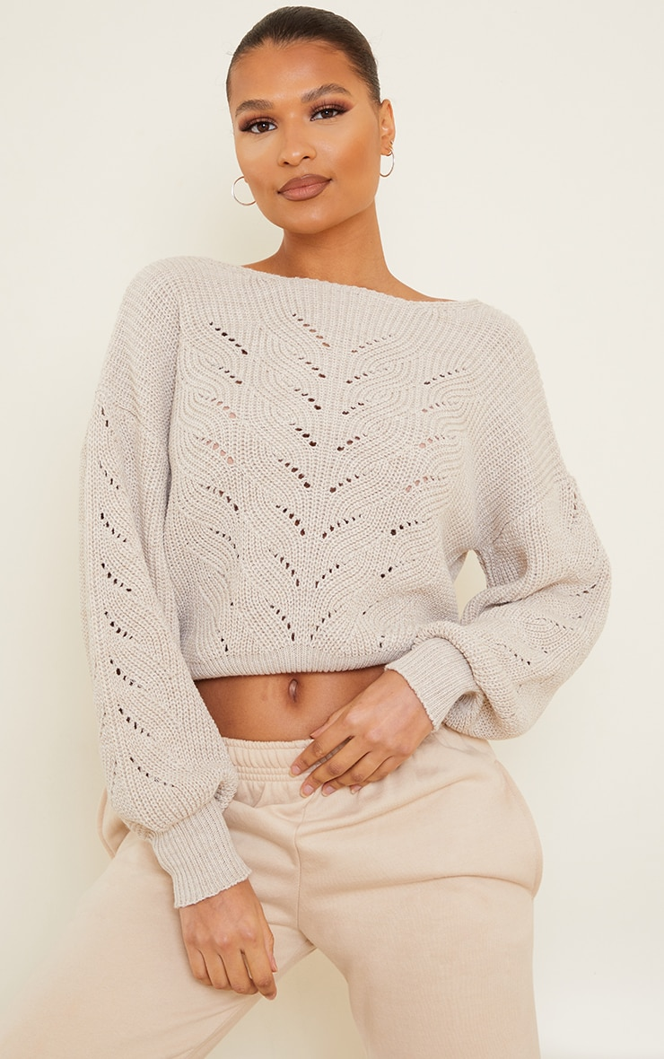 Oatmeal Pointelle Crew Neck Knitted Jumper 1