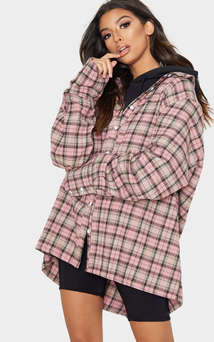 Pink Tartan Checked Flannel Pocket Detail Oversized Shirt 4