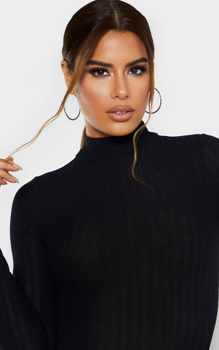 Tall Black Rib Knitted Long Sleeve Bodysuit 6