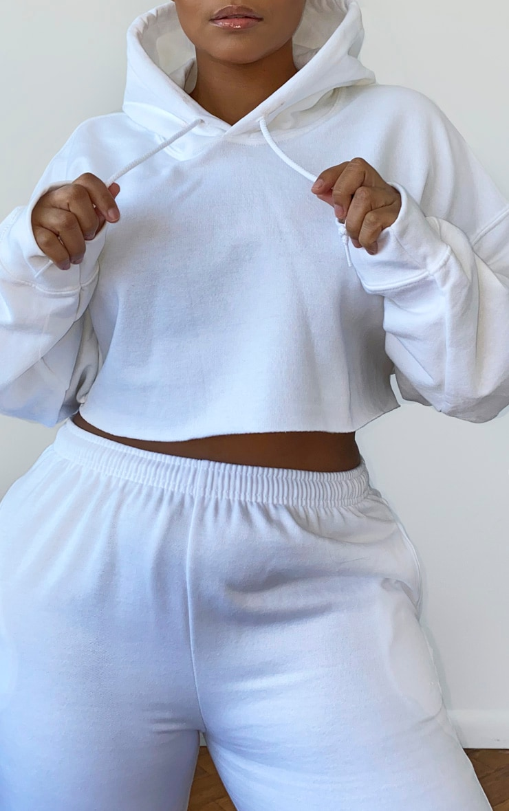 Plus White Ultimate Oversized Crop Hoodie 4