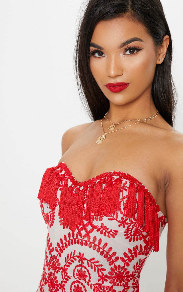 Red Broderie Red Anglaise Tassel Trim Bodycon Dress 5