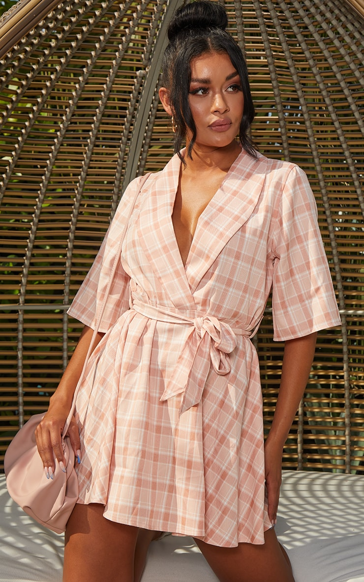 Blush Check Tie Tea Dress 1