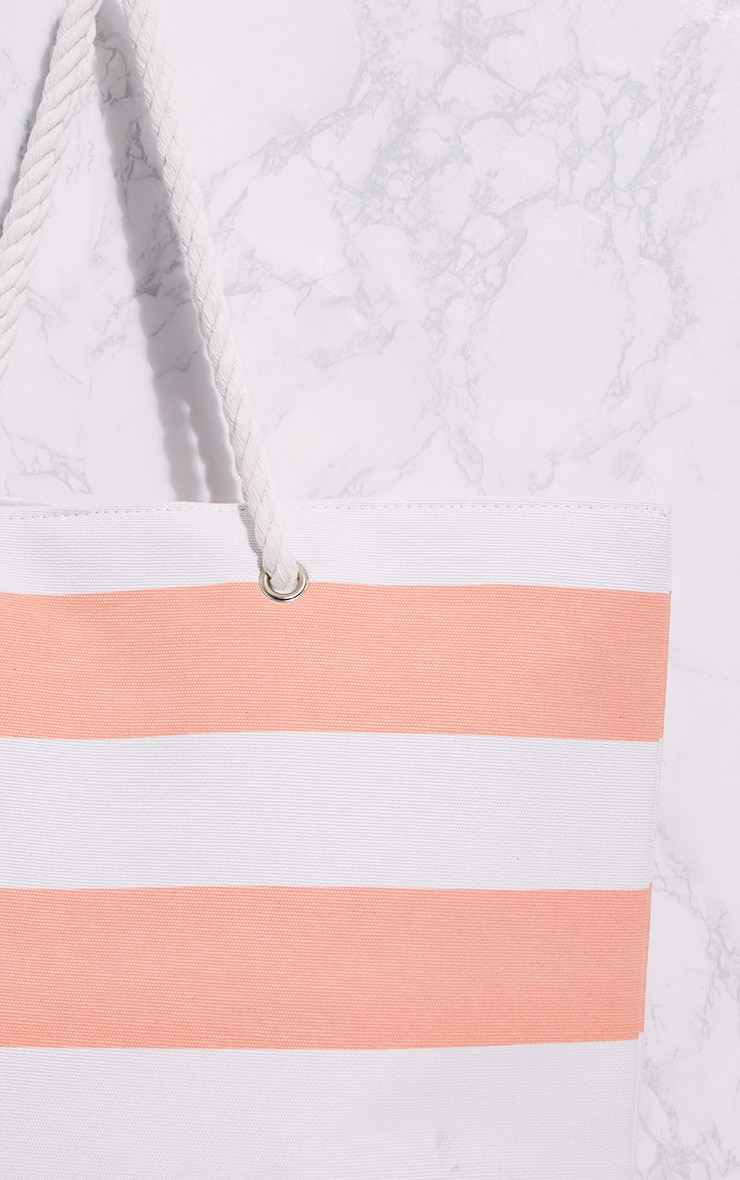 Pink Stripe Rope Handle Beach Bag 5