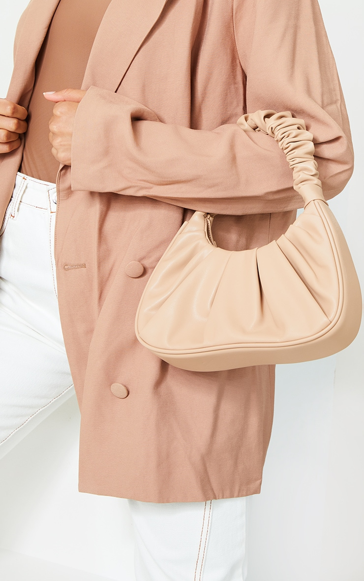 Tan Rouched Handle Shoulder Bag 1
