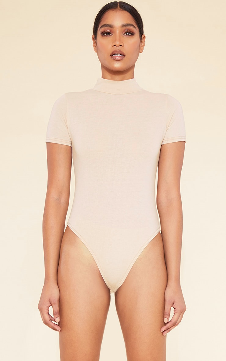 RECYCLED Deep Nude Roll Neck Short Sleeve Bodysuit