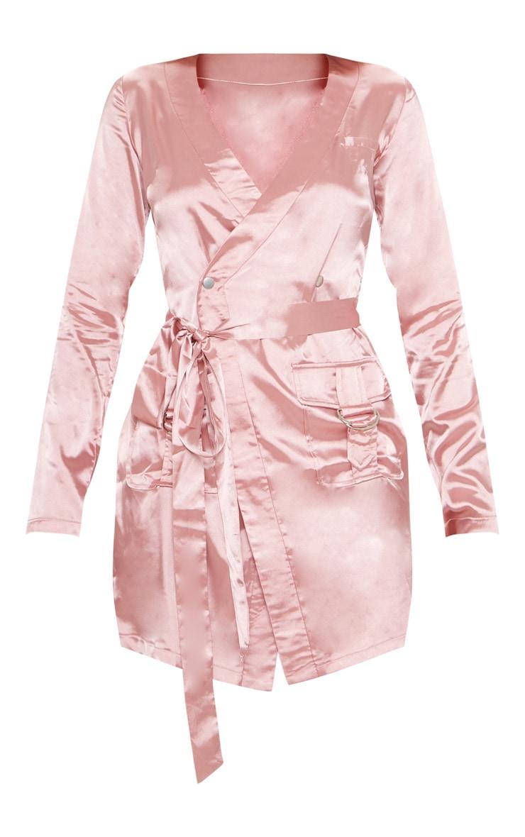 Rose Satin Utility Long Sleeve Bodycon Dress 3