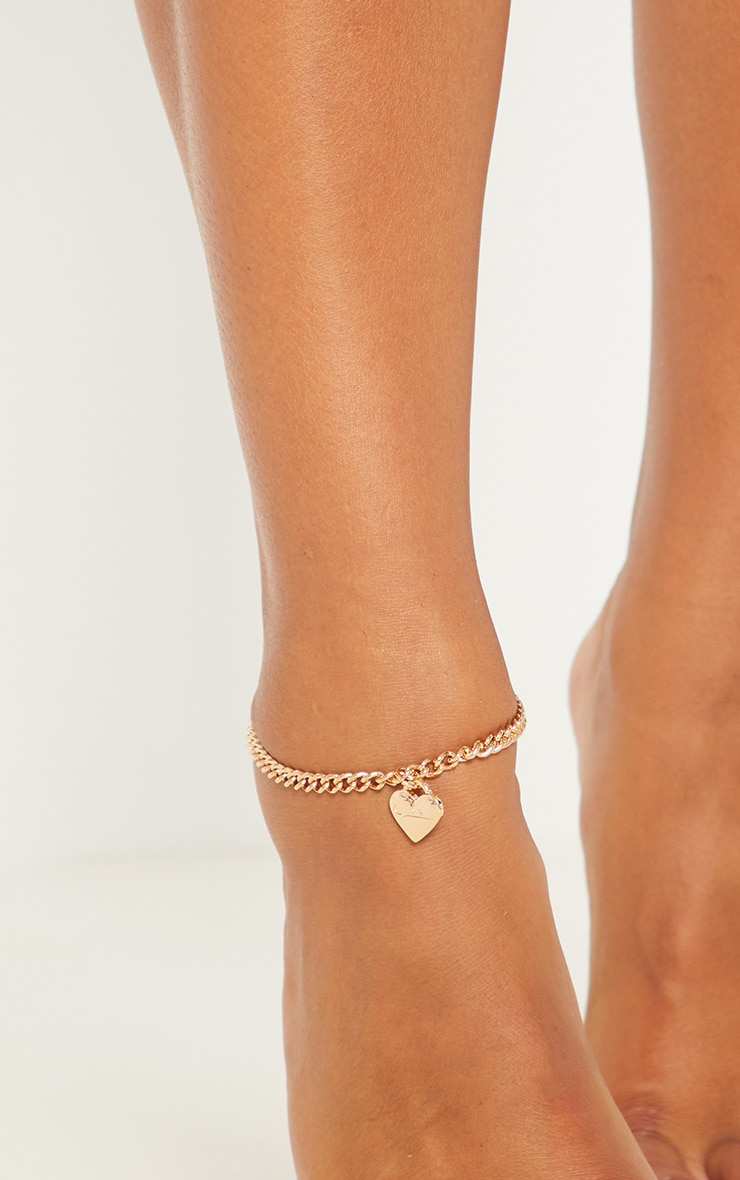 Gold Script Love Heart Anklet 2