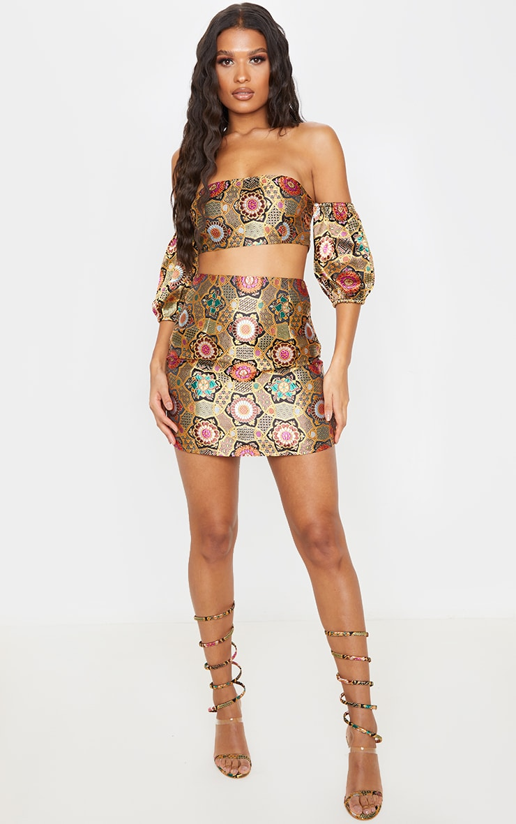 Gold Jacquard Puff Sleeve Bardot Crop Top 4