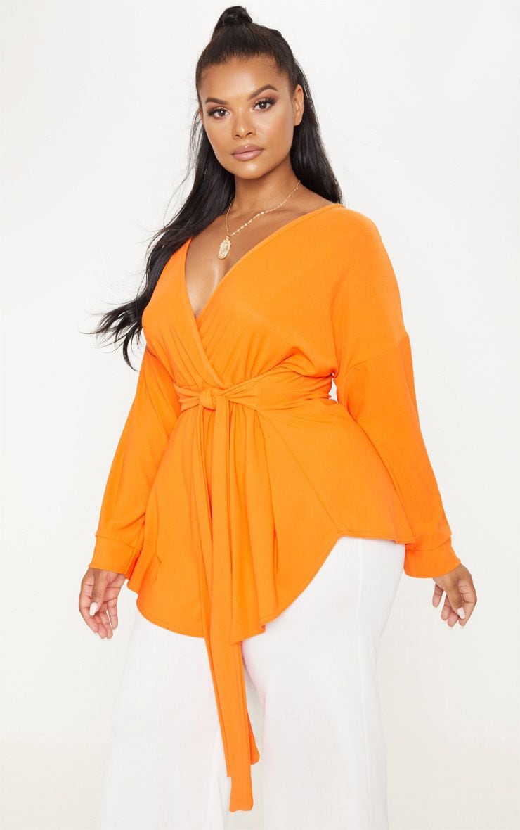 Plus Orange Tie Waist Blouse 1