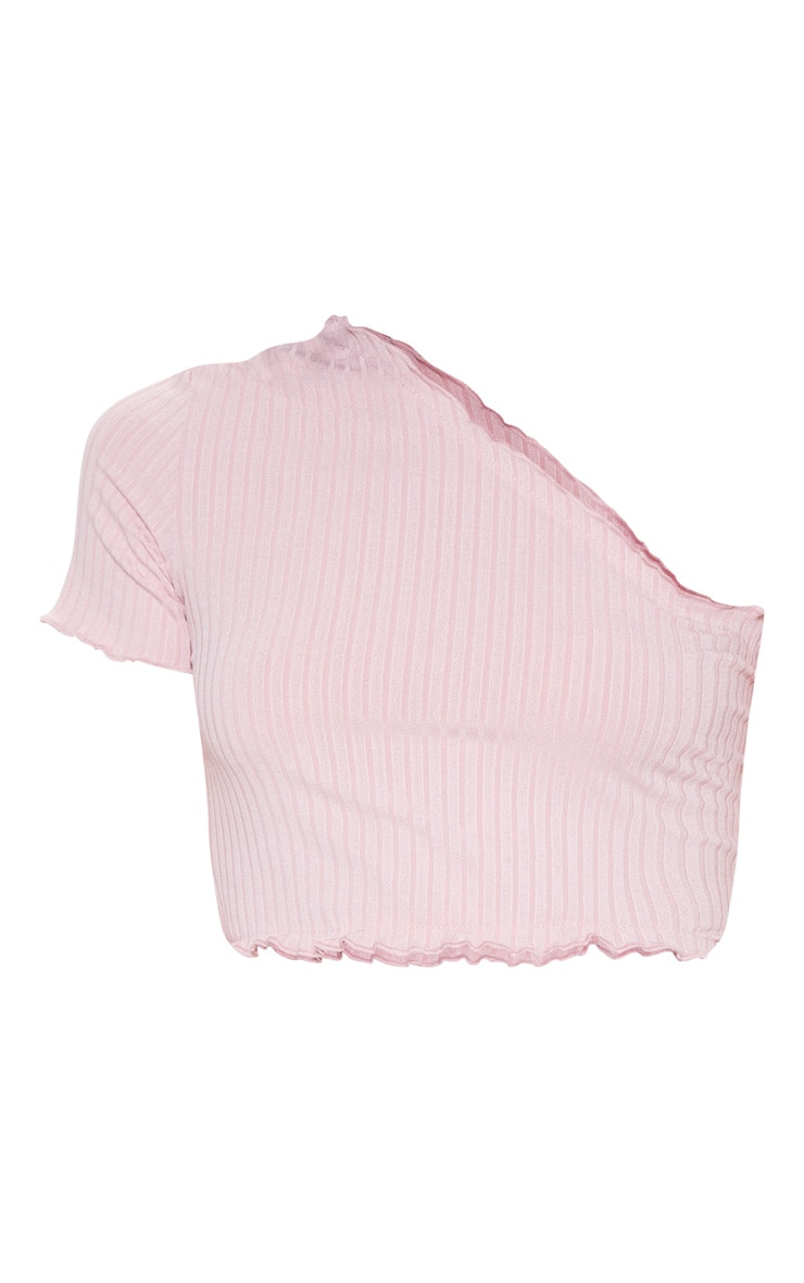 Dusty Pink Rib Frill One Shoulder Crop Top 3