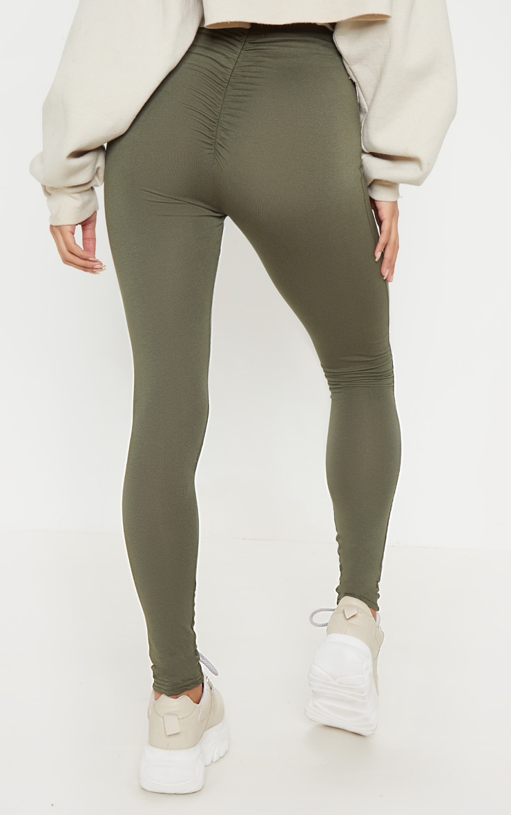 Khaki Ruched Back Jersey Legging 4