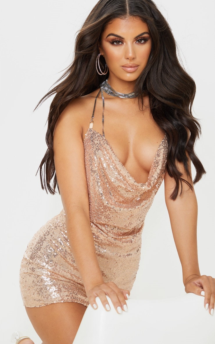 Rose Gold Sequin Chain Choker Mini Dress  5