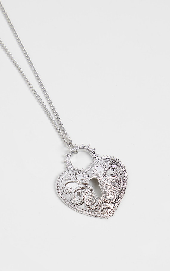 Silver Heart Lock Necklace 2