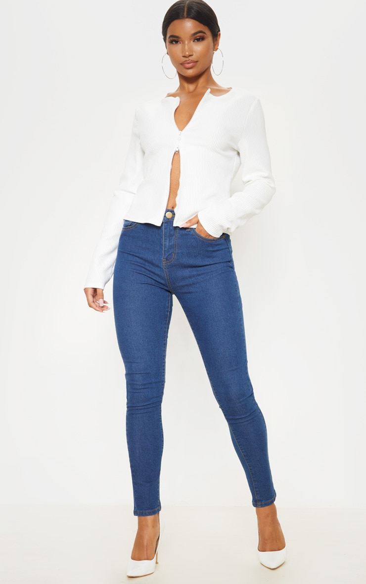Mid Wash Basic High Waisted 5 Pocket Skinny 1