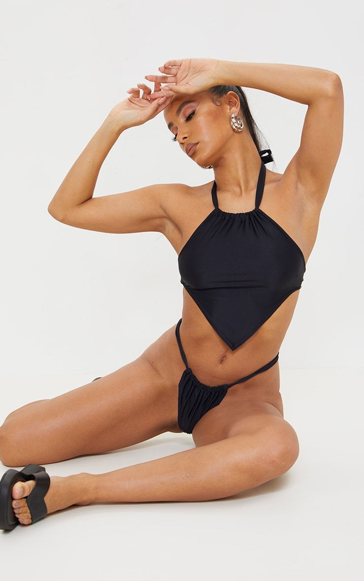 Black Racer Neck Scarf Bikini Top 1