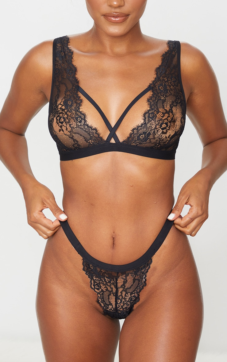 Black High Waisted Strap Lace Thong 1