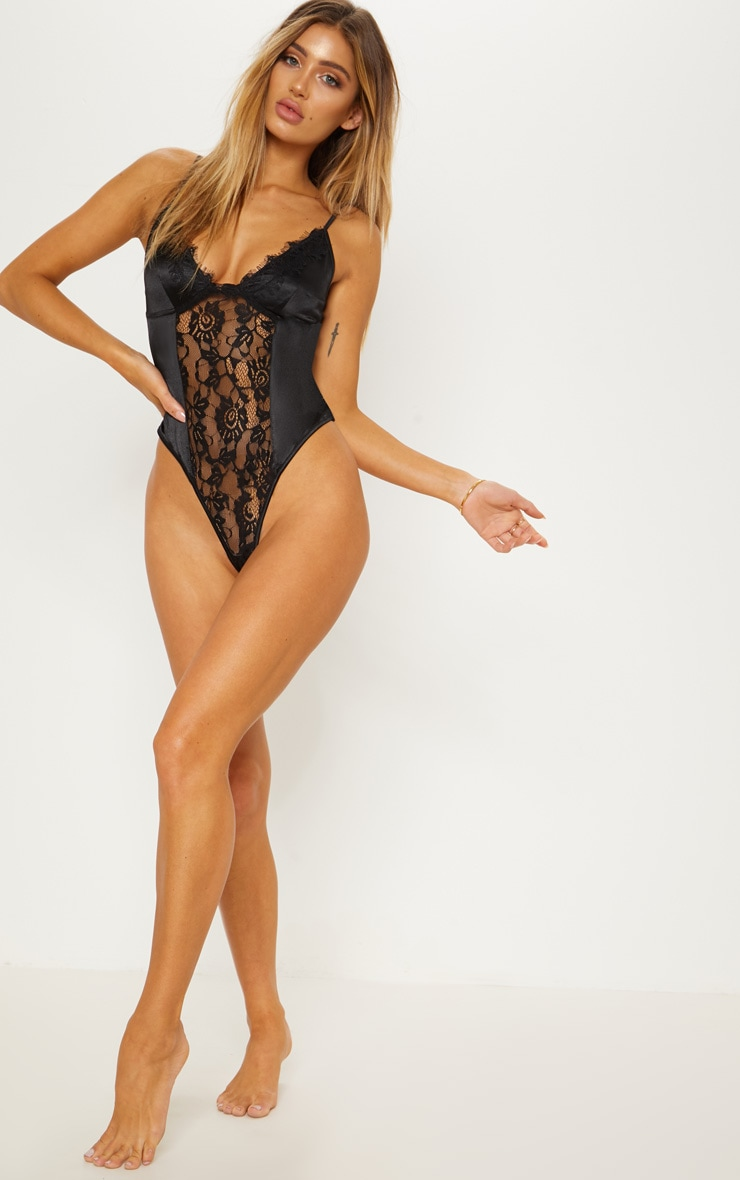 Black Satin Lace Insert Body 5