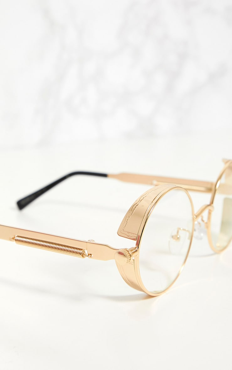 Gold Round Frame Clear Lens Spring Glasses 4
