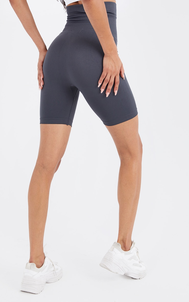Grey Seamless Waist Trainer Cycle Shorts 3