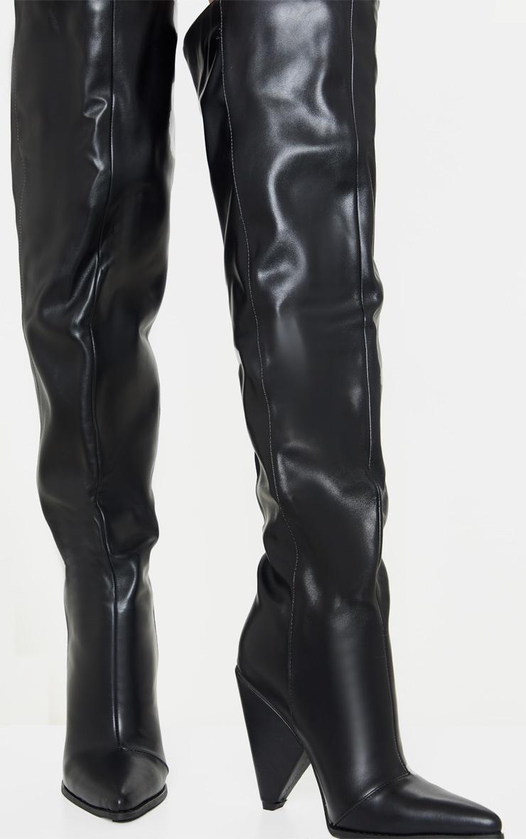 Black Thigh High Cone Heel Boot 3