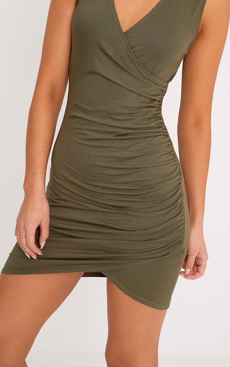 Khaki Choker Detail Ruched Bodycon Dress 5