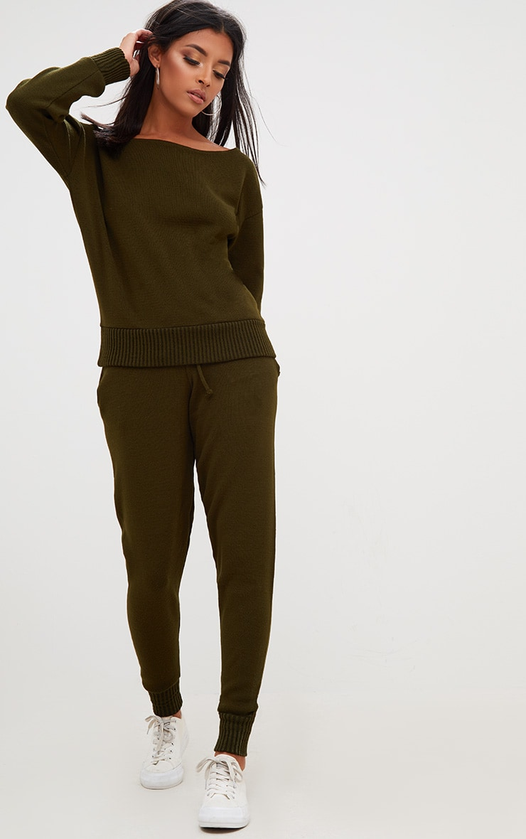 Khaki Jogger Jumper Knitted Lounge Set 1
