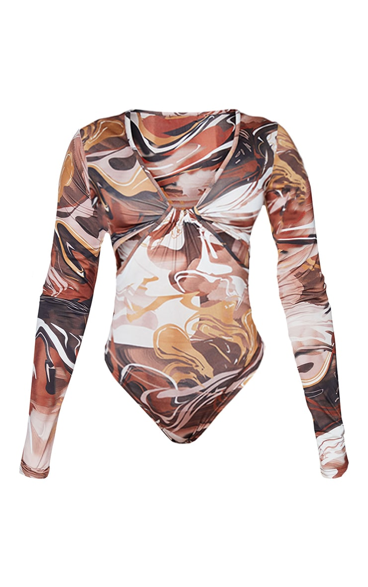 Shape Marble Print Slinky Cut Out Detail Long Sleeve Bodysuit 5