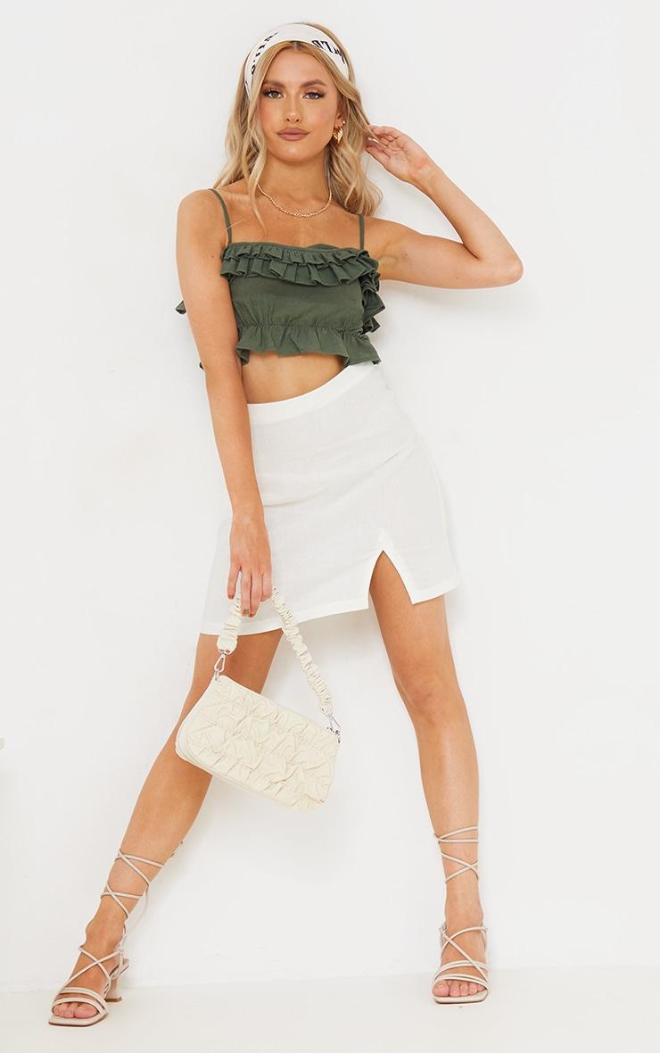 Khaki Linen Look Ruffle Strappy Tie Crop Top 3